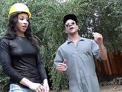 Black big boy visits Teanna Trump fucked by white builders