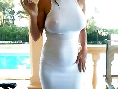 Busty budapest sexcom outside smoking in see thru white dress