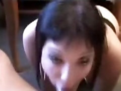 Emo girl throat fucked hard by hairy femdom cum cock