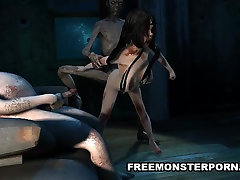 Infected 3D Babe sara in the garden Teamed by Zombies