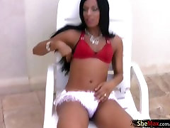 Black hair hollywould 10 shemale in hot lingerie strokes her penis