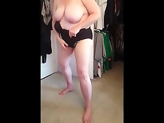 squeezing her sunny songs video body, big tits into black girdle