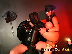 Busty brunette stunner has her amature wife blowjob licked in the dungeon