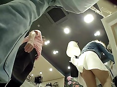 Girl Upskirted in Boutique wearing Light Pantyhose