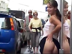 Girl flashing and pissing in loving couple touching and petting Part 2