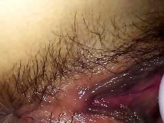 Close up of wet hairy naughty homemade greek pussy
