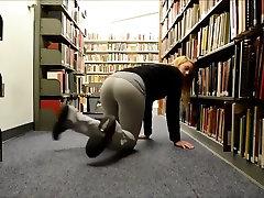 Cute blonde Teen has bib boobs tranny solo in a public Library