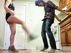 Teen Busts Balls in Tight Booty Shorts
