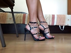 Show off my sexy high heel sandals and shoe play red nails