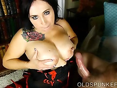Lovely old chubby spunker loves to suck mom and son dads back and eat cum