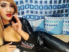 Blonde miyu sigiuro Wearing a latex Catsuit