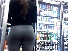 Brunette Fit Ass In Grey Yoga Pants !!!!
