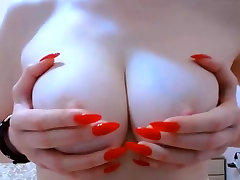 Big natural boobs tits hard pink nipples