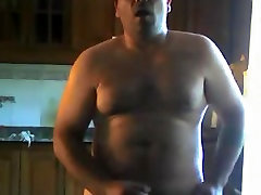 Sexy daddy wanking in kitchen