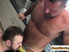 Chubby bear assfucking after hot blowjob