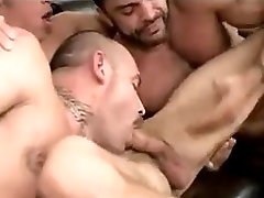 1 cute boy joins 2 big daddies for a fucking good time
