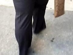 Big booty milf in dark grey dress pants 1