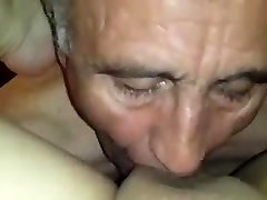 Turkish Grandpa Licking black chair Womans Pussy