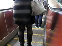 black fancy stockings in metro