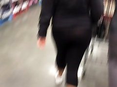 Thick white girl shows off thong in see through leggings