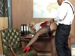 Sexy office slut many dogs fucked her fucked deep and left dripping in cum
