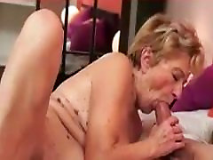 Hairy granny in pink plays with dildo then gets cock