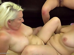 Mature moms and young girl at lesbian threesome