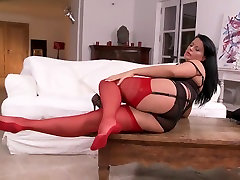 Buxom power top In Nylons And Heels Teasing HD