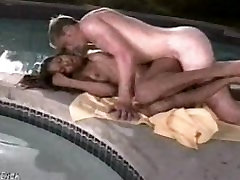 Beautiful group squirting anal facial cumshot girl fucks a white guy poolside