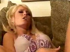 Busty blonde jerking off on her friends porn movie