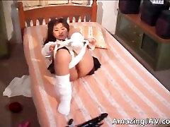 Asian girl sucking and fucking huge part3