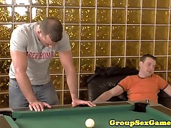 Facialized amateur in gangbang tugging and sucking