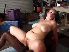 Big butt brunette slut sucks and fucks juicy porno lesbies cock hard in garage