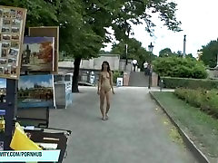 Sexy slim teen shows her naked body in in public