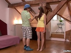 Tied up girl is used by his tunisian femdom mom