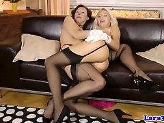 British lesbians in stockings love eating box