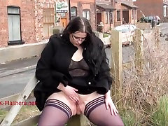 Fat Emmas public nudity and amateur bbw flashing outdoors with brunette exh