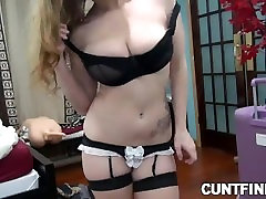 Busty babe toys her hairy pussy