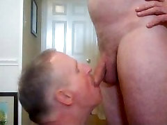 Piss-faggot gets a drink in his front hall