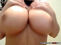 Sexy brunette woman strip tease webcam