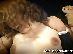 The initiation masters are groping and pissing on the Asian slut