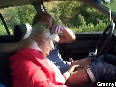 80 years skinny granny young guy bitch gets screwed in the car