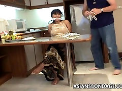 Mature brunette with rubbing cunt boobs tied up and groped up