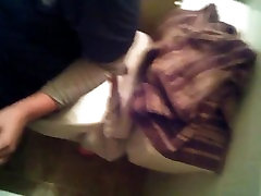 White girl head in the bathroom