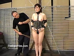 Kinky amateur bondage and whipping of Lena in electro bdsm and hardcore dom