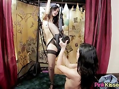 Sexy girls play on a sex swing