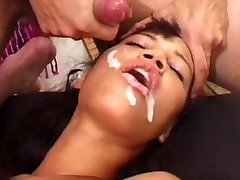 Girl gets thick cum load while her head pinned down