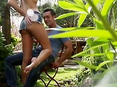 Petite Blonde Outdoor Sex With Footjob