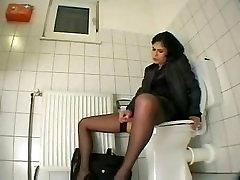 Masturbation at work, anal toying at the toilet