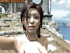 Lara Croft shaking her boobs in front of camera